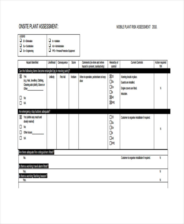 onsite plant risk assessment form example