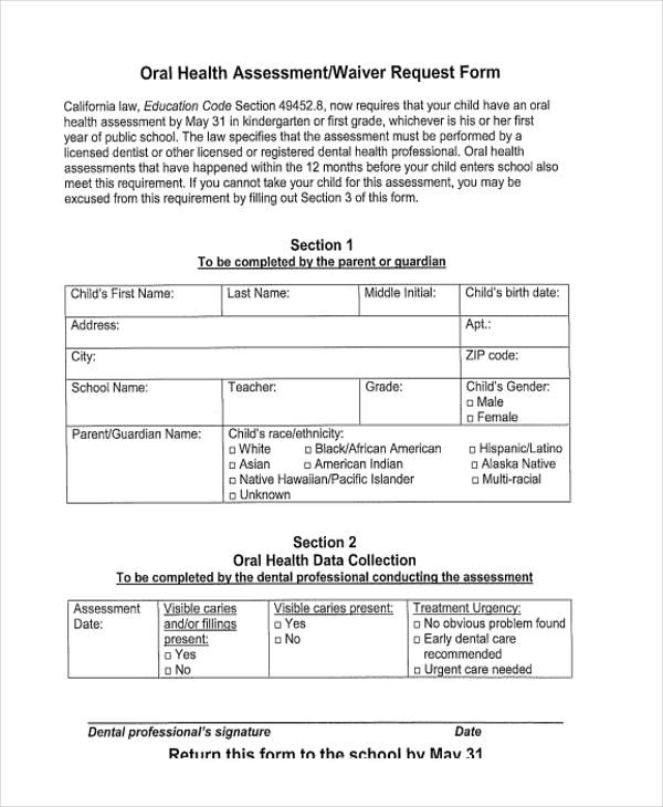 oral child health assessment form