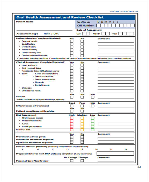 oral health assessment review form2