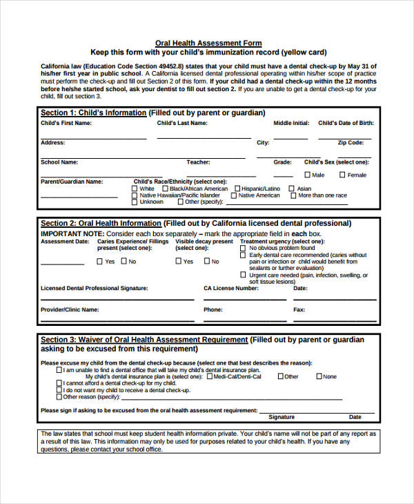 oral health services assessment form
