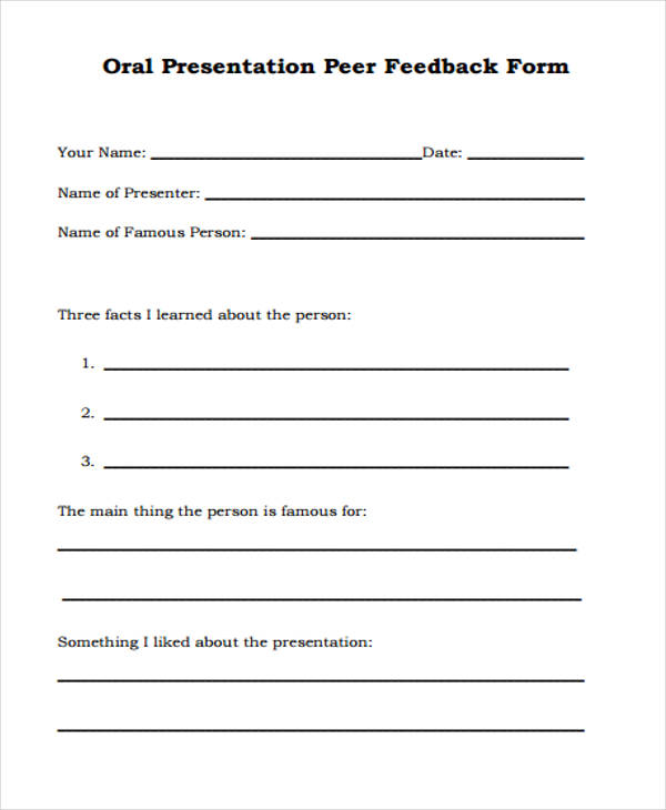 oral presentation peer feedback form