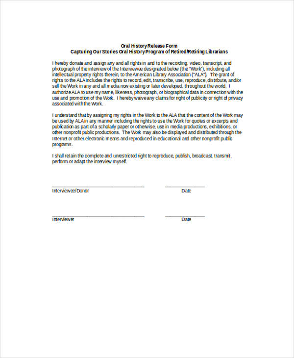 12+ Interview Release Form Template