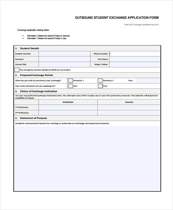 outbound student exchange application form