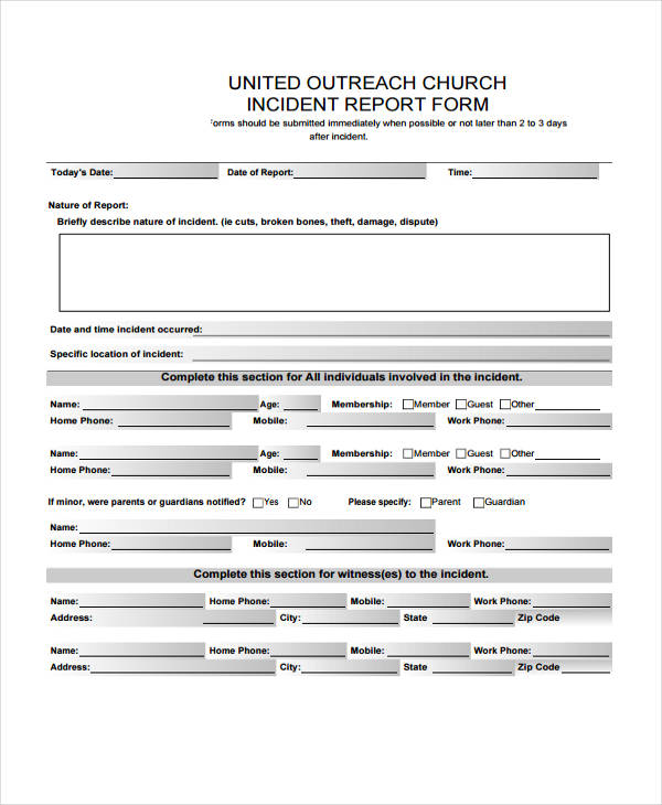 free 41  sample incident report forms in pdf