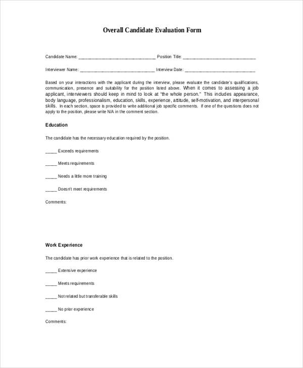 Sample Interview Assessment Form