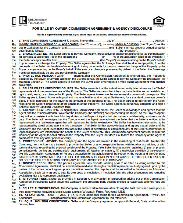 owner sales commission agreement form