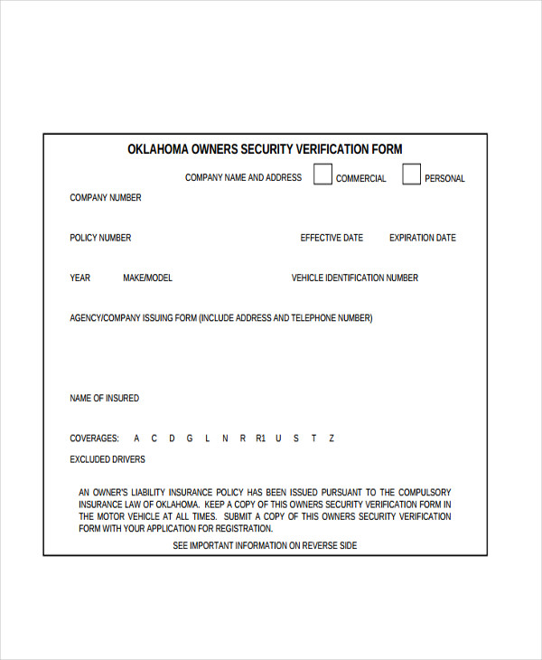 owners insurance security verification form1