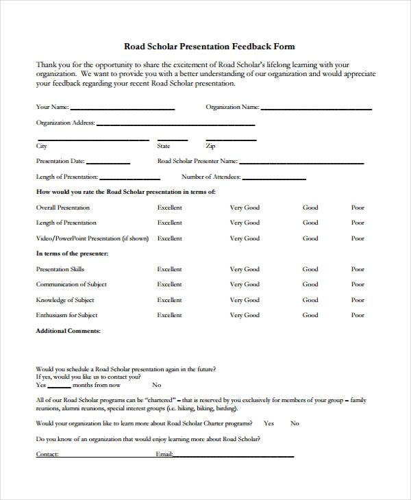 paper presentation feedback form