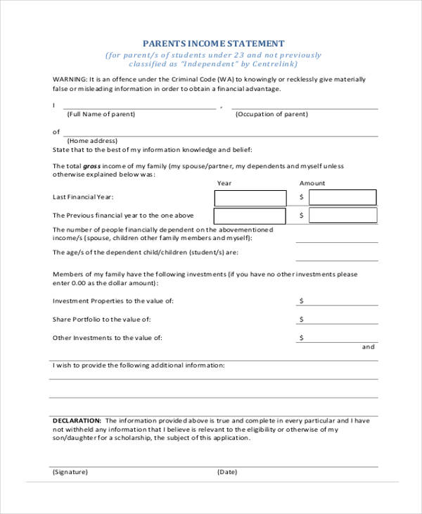parent income statement form