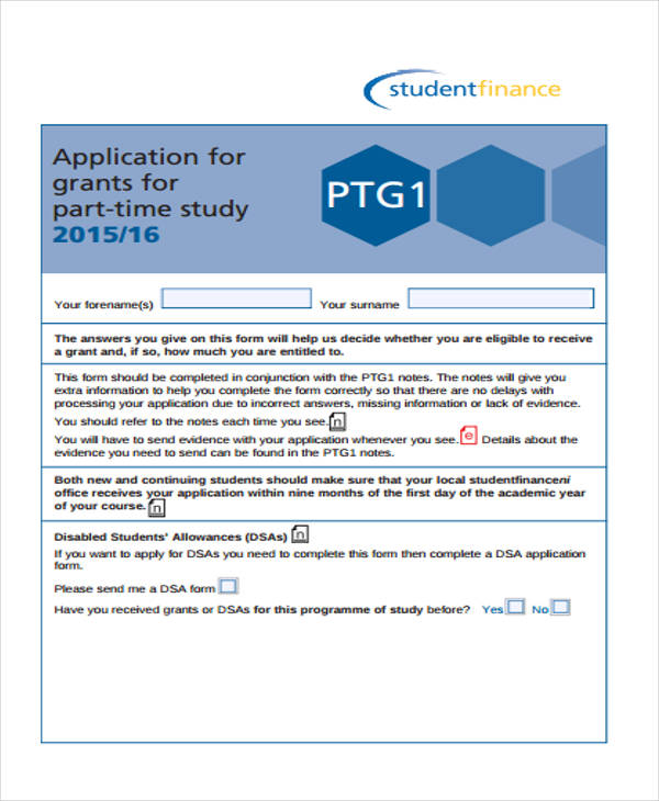 part time student finance application form