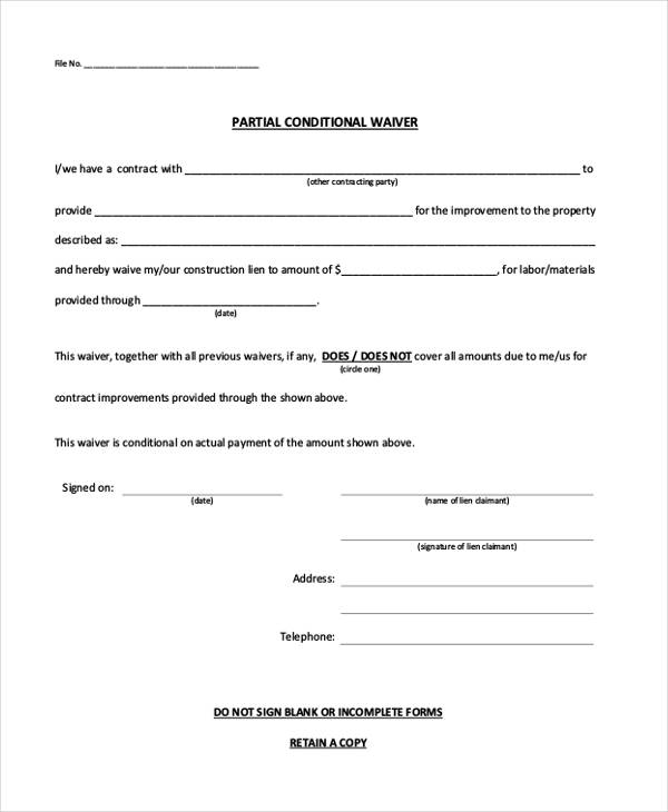 Conditional Release Form. Fraudulent Lien Waiver Release Forms