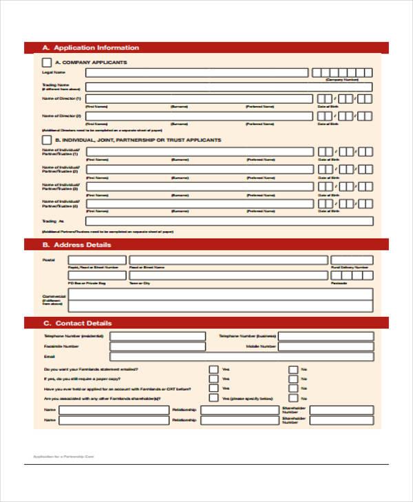 partnership card application form