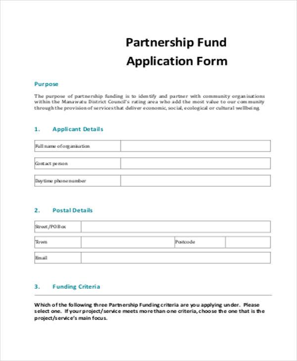 partnership fund application form