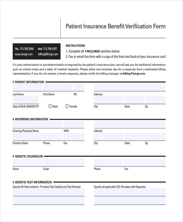 patient insurance benefit verification form