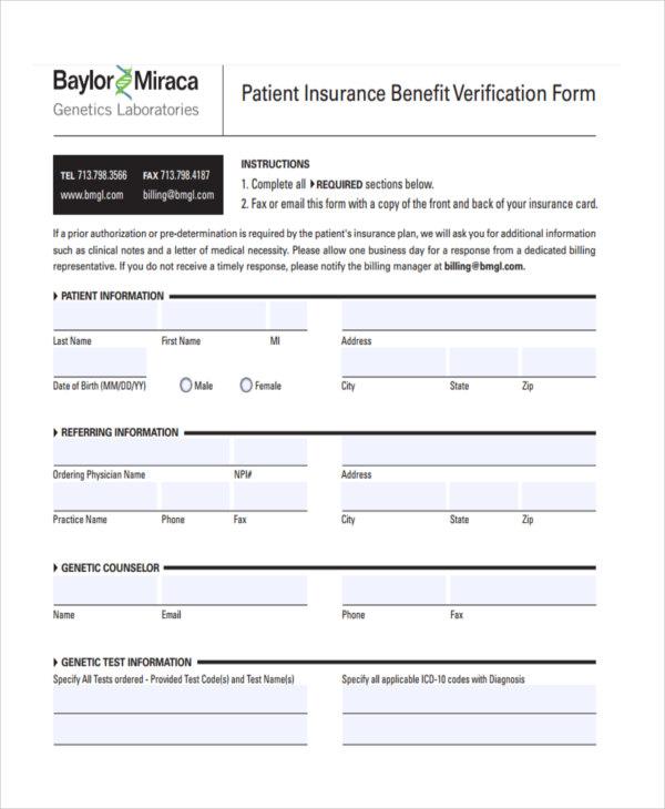 patient insurance benefit verification form1