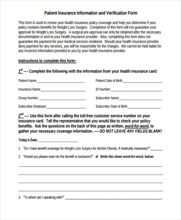 patient insurance information verification form