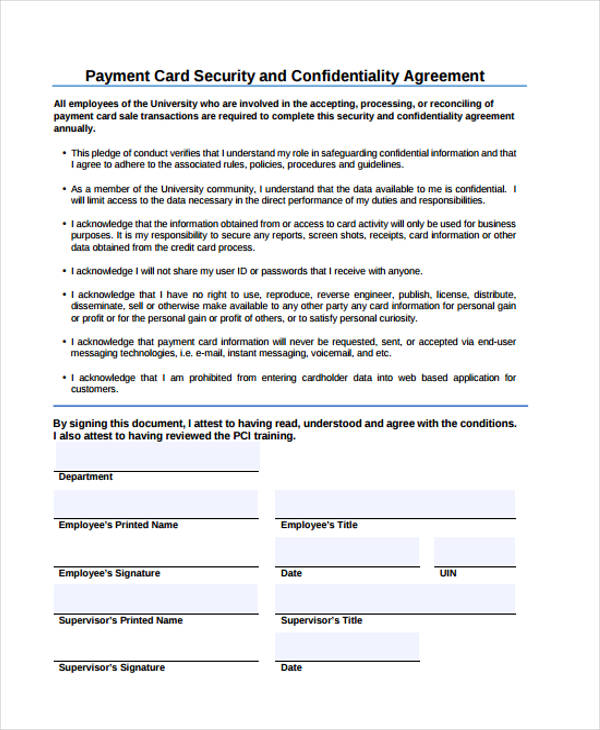 payment card security confidentiality agreement