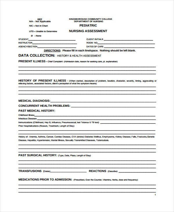 pediatric admission nursing assessment form
