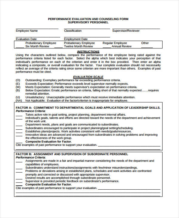 performance counseling evaluation form