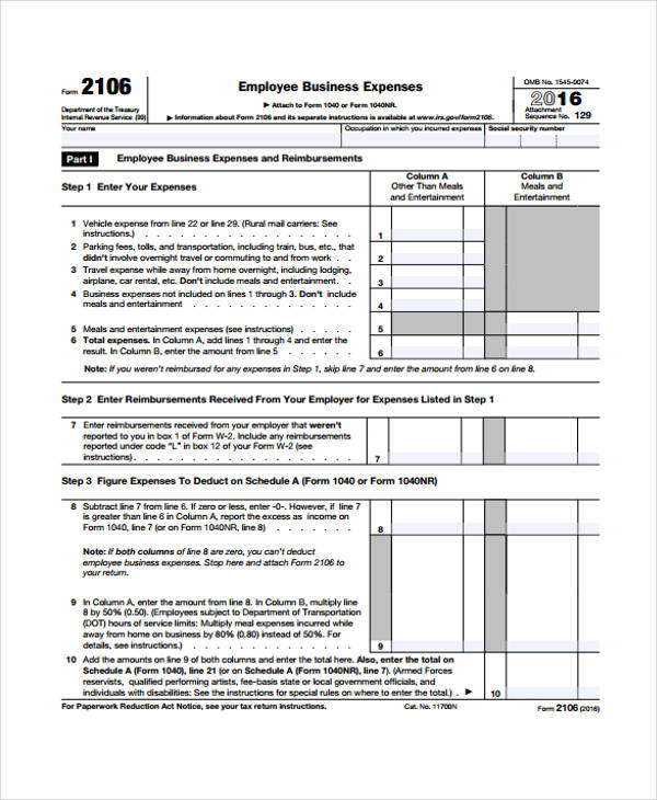 personal business expense report form