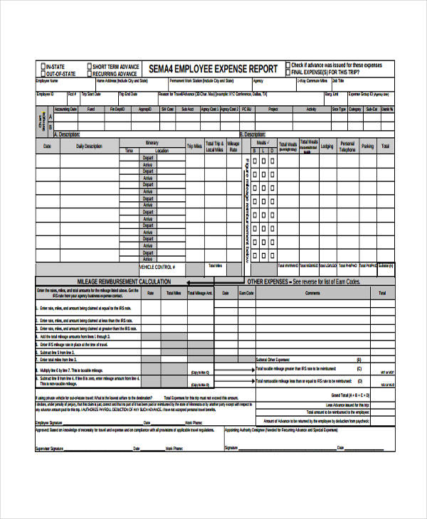 personal business expense report form1