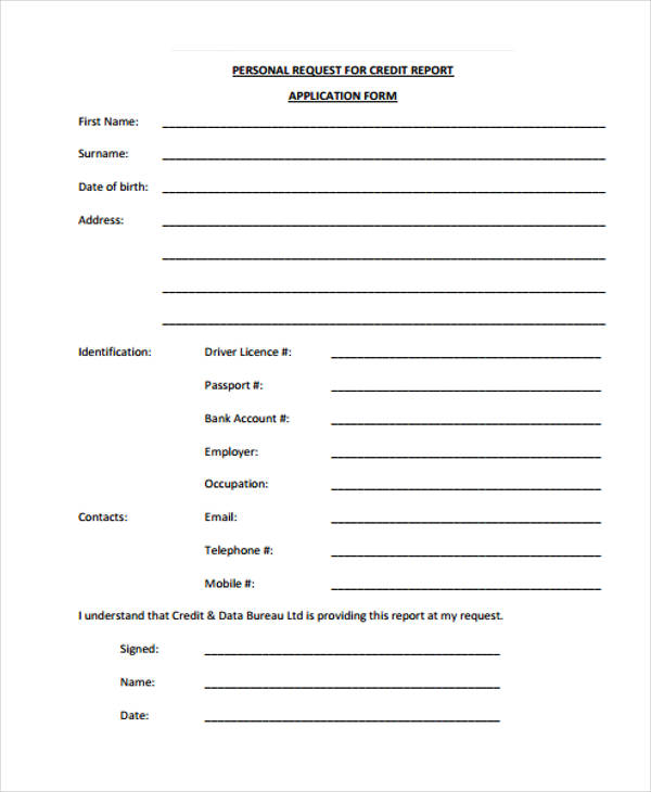 personal credit report application form