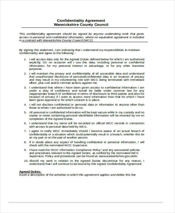 personal data confidentiality agreement form