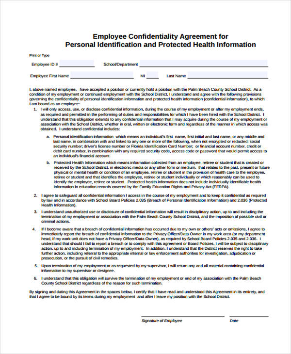 personal employee confidentiality agreement form