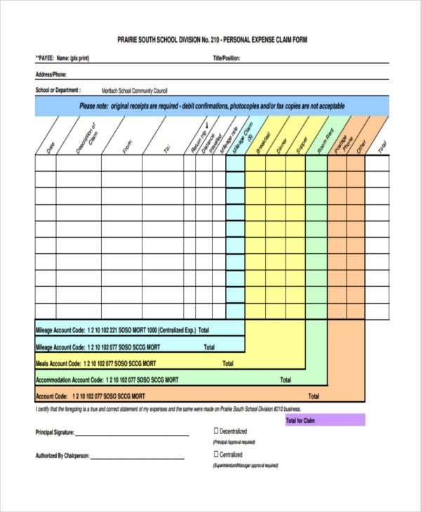 personal expense claim form example