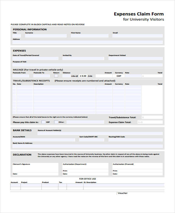 personal expense claim form sample