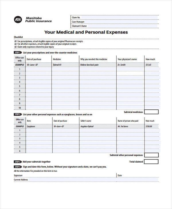 personal expense medical form