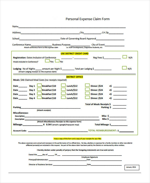 personal income tax expense form