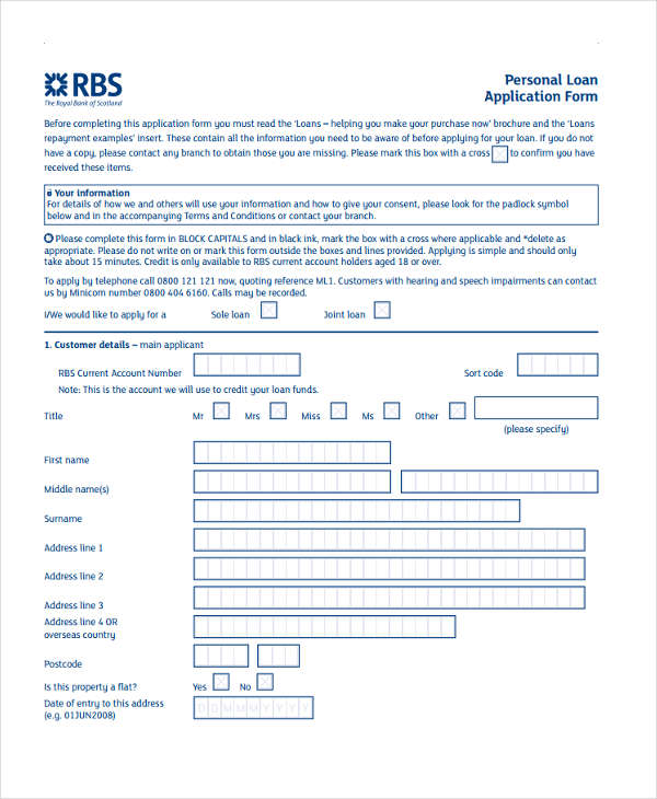 personal loan proposal form
