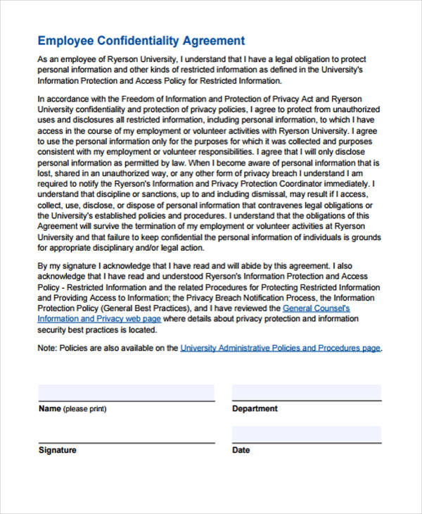 personal non disclosure confidentiality agreement form