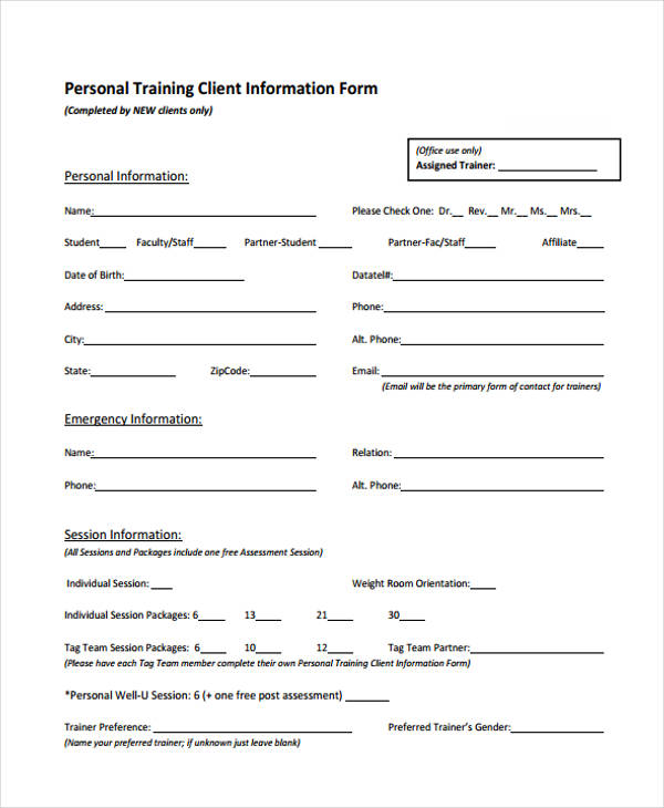 Personal Training Client Forms - Best Client 2017