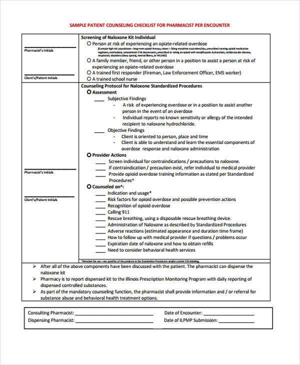 pharmacy patient counseling checklist form