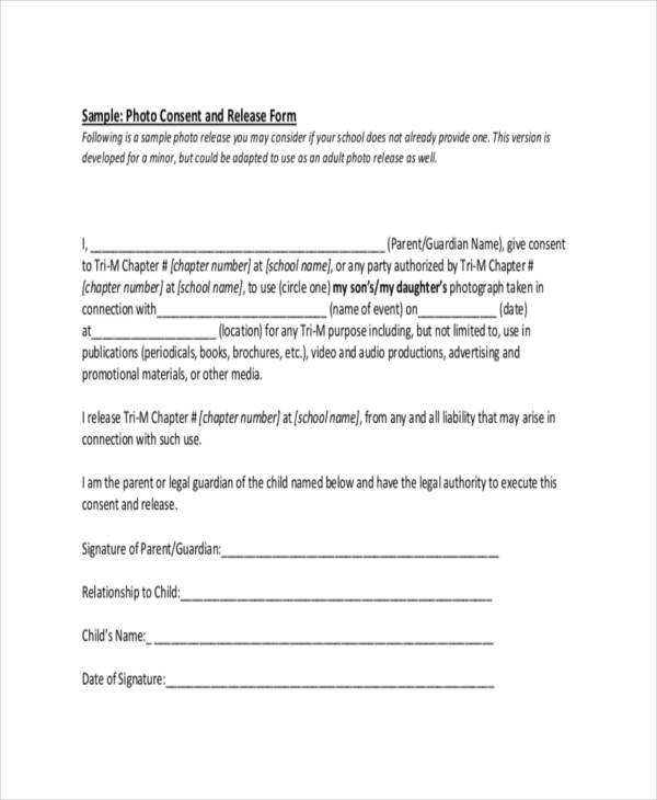photo consent release form sample