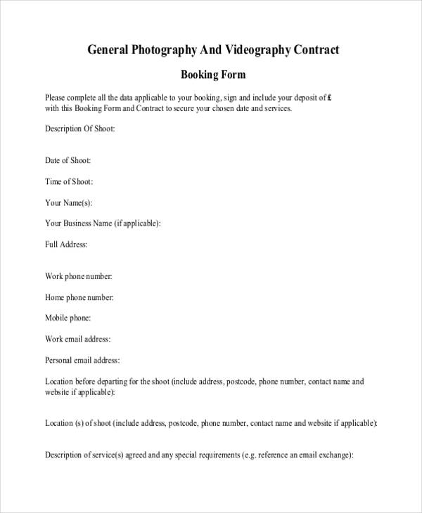 Photography Contract Form Sample  Free Sample Example Format