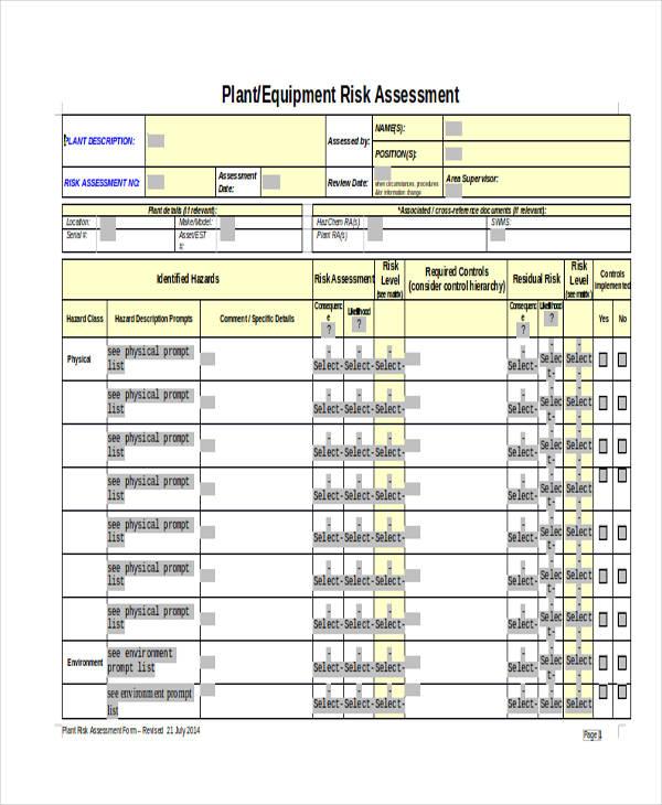 plant equipment risk assessment form2
