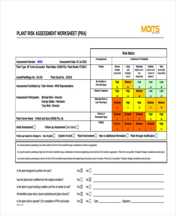Plant Risk Assessment Form Sample  Free Sample Example Format