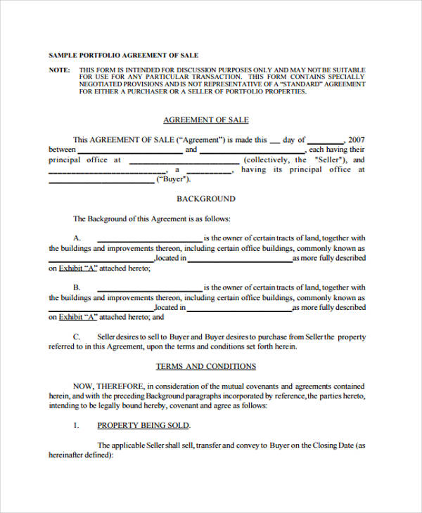 portfolio assets sale agreement form