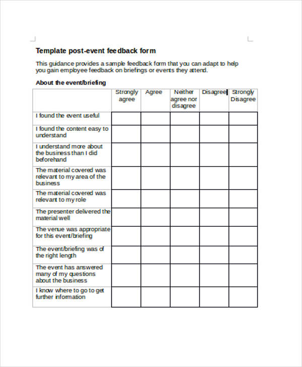 Sample Event Feedback Forms