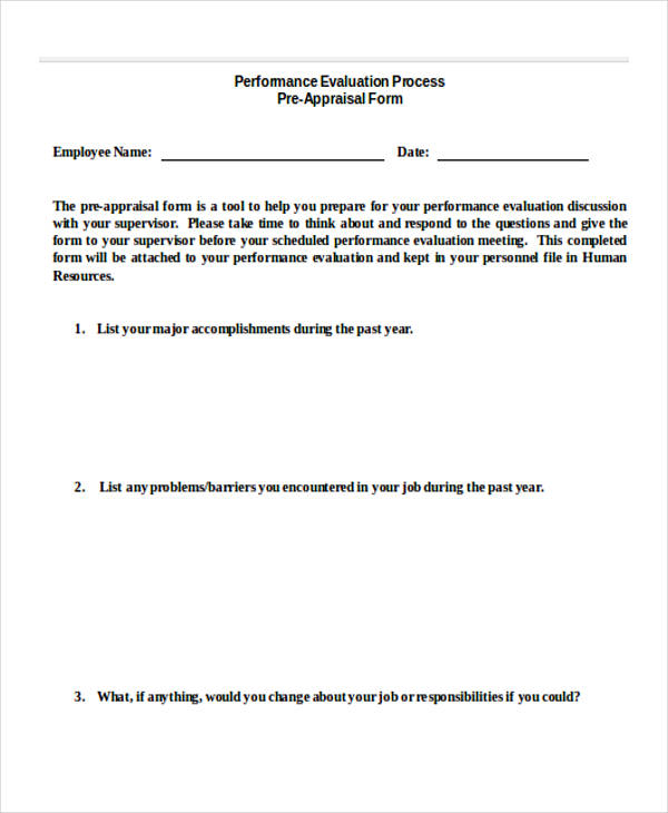 Appraisal Form In Doc Administrative Staff Performance Appraisal
