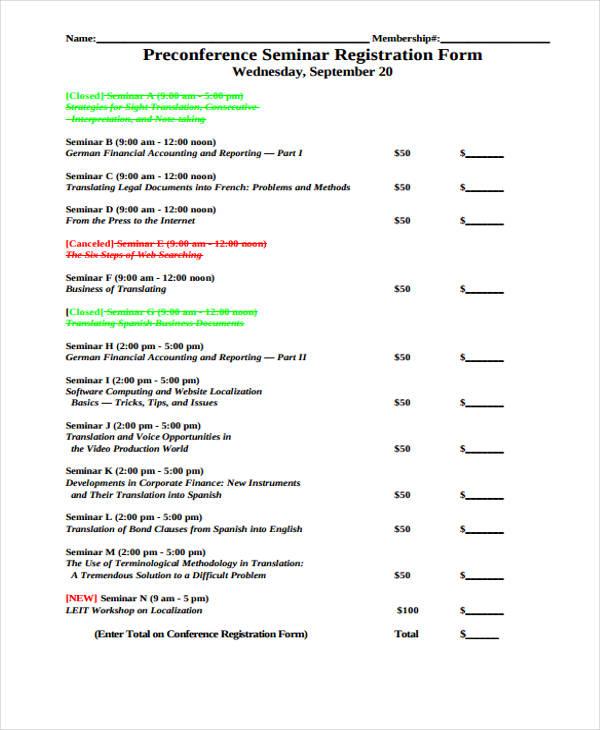 pre conference seminar registration form