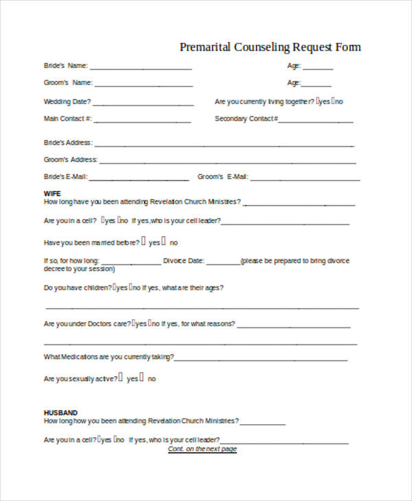 pre marital counseling request form