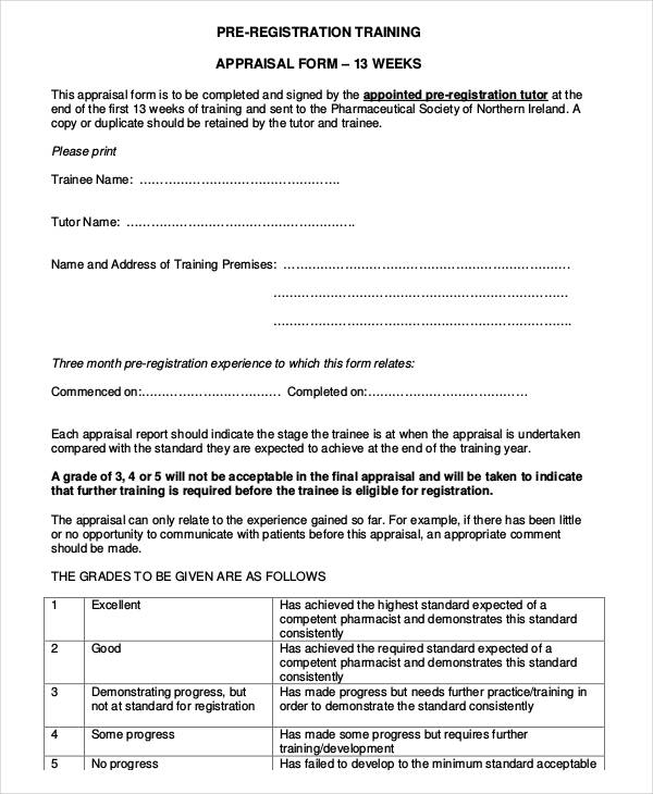pre registration appraisal form