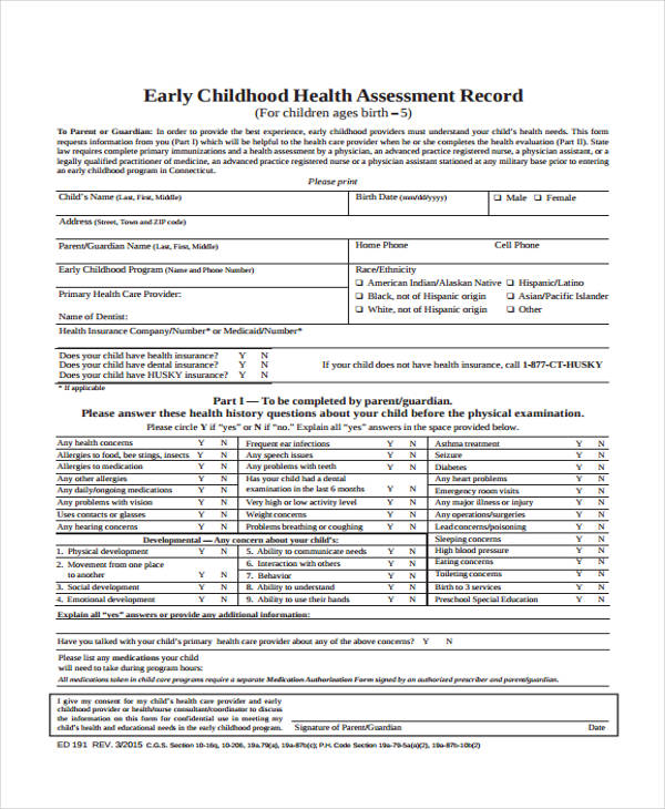 preschool child health assessment form