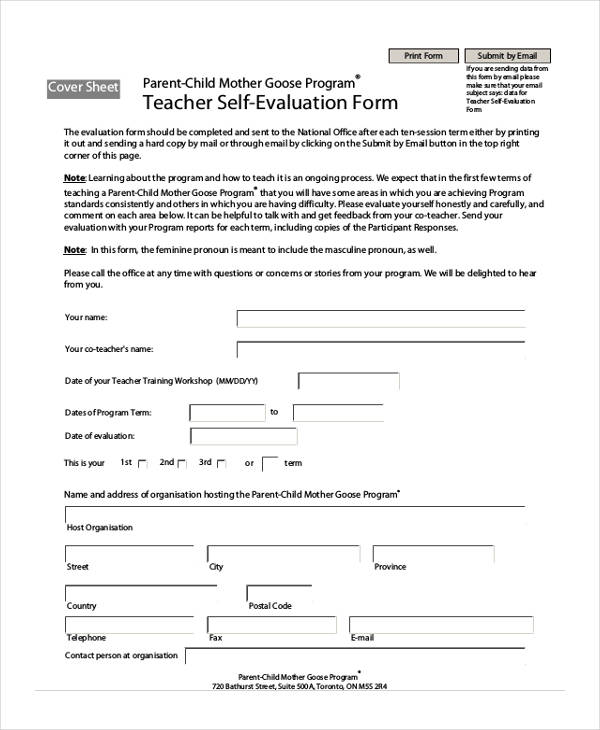 SelfEvaluation Form Examples