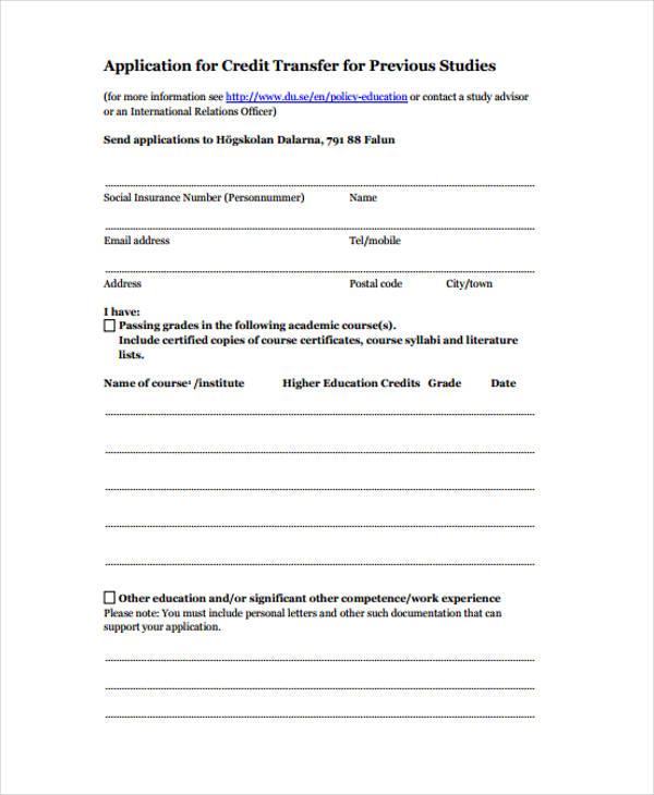 previous studies credit application form