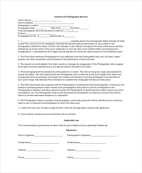 printable photography contract